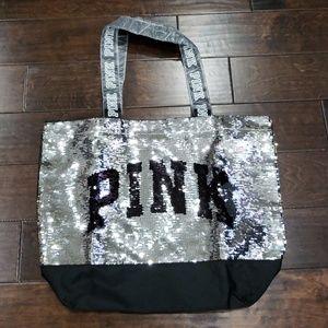 Victoria Secrets Pink sequin tote bag